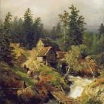 Goblen - Peisaj de munte cu rau si moara de apa