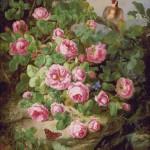 Goblen - Natura statica cu trandafiri, fluturi si pasare