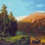 Goblen - Peisaj montan la apus de soare