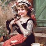 Goblen - Fetita si pisoiul ei