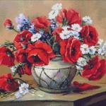 Goblen - Vas cu flori