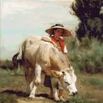 Goblen - Fata cu vitelus