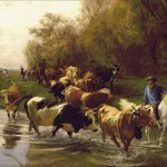 Goblen - Calaret cu vaci pe malul Zurichhorn