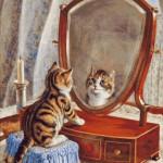 Goblen - Pisoi privind in oglinda