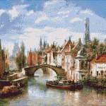 Goblen - Barjele pe Canalul din Bruges