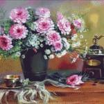 Goblen - Natura statica cu flori si rasnita