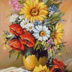 Goblen - Floarea soarelui cu maci