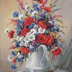 Goblen - Glastra cu flori de camp