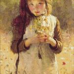 Goblen - Portret de fetita cu buchetel de flori