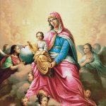 Goblen - Fecioara Maria cu Iisus si ingeri