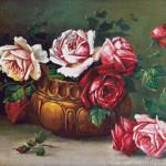 Goblen - Trandafiri în vas