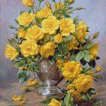 Goblen - Trandafiri galbeni în vas de argint