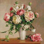 Goblen - Bujori cu trandafiri albi
