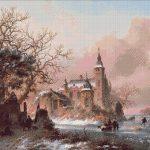 Goblen - Peisaj de iarnă lângă castel