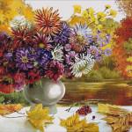Goblen - Flori de toamna