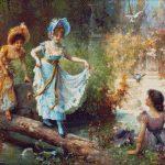 Goblen - Domnişoare trecând râul