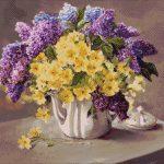 Goblen - Liliac şi flori galbene în ibric