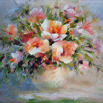 Goblen - Flori roz în vază