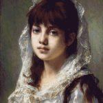 Goblen - Portret de fetiţă cu voal alb