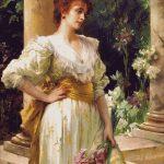 Goblen - Femeie în alb ţinând irişi