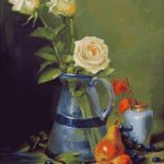 Goblen - Trandafiri galbeni în vază albastră