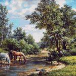 Goblen - Peisaj cu cai