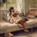 Goblen - Fetiţa şi căţelul citind o carte