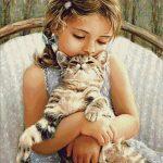 Goblen - Fetiţa cu pisica în braţe