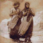 Goblen - Fete de pescar pe ţărm