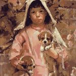 Goblen - Fetiţa cu căţeluşi