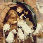 Goblen - Copii şi căţeluşi
