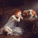 Goblen - Fetiţa şi căţelul în staul