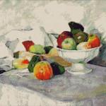 Goblen - Mere şi pere pe alb