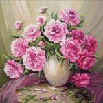 Goblen - Bujori roz in vaza alba