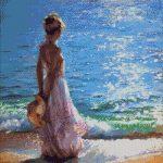 Goblen - Domnişoară la malul mării