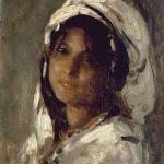 Goblen - Portret de fată cu voal alb
