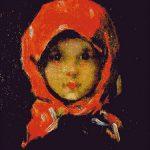 Goblen - Portret de fată cu basma roşie