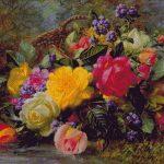 Goblen - Coş cu trandafiri pe lac