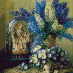 Goblen - Flori albastre şi bibelou