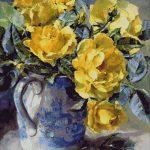 Goblen - Trandafiri galbeni în carafă albastră