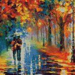 Goblen - Îndrăgostiţi în ploaie