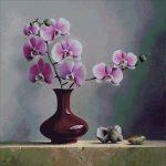 Goblen - Orhidee in vaza si scoici