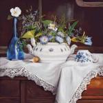 Goblen - Natura statica cu flori si lingurita