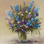 Goblen - Flori de camp in pahar de sticla