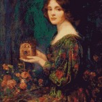Goblen - Tanara in rochie de catifea