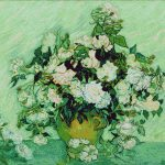 Goblen - Vaza cu trandafiri roz