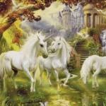 Goblen - Unicorni langa castel