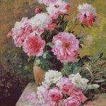 Goblen - Bujori si trandafiri roz