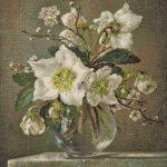 Goblen - Flori albe in vaza de sticla