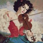 Goblen - Tanara cu vioara
